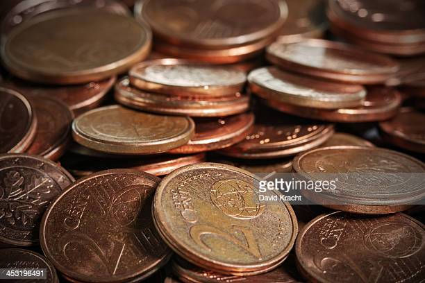 A macro photo of euro cent coins