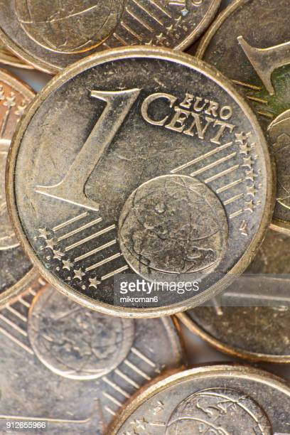 A macro photo of one euro cent coins