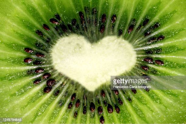 macro section of kiwi-shaped heart - tempio pausania stock pictures, royalty-free photos & images