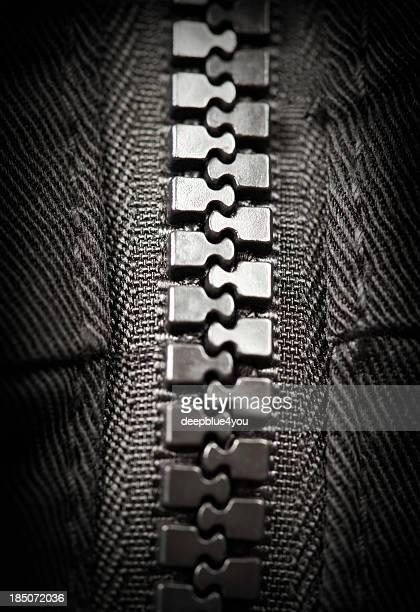 macro shot of a zipper