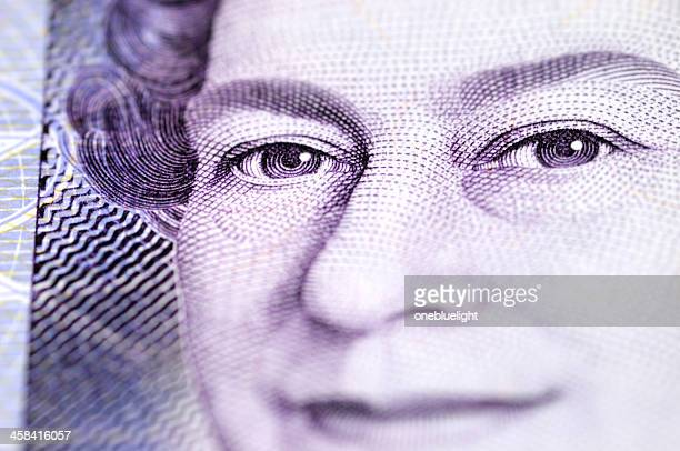 macro shot of the queen elizabeth ii on £20 note - british pound sterling note stock pictures, royalty-free photos & images