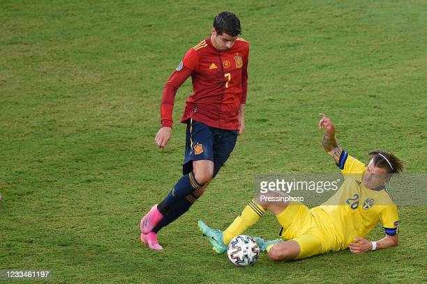Macs Kristoffer Olsson of Sweden and Alvaro Morata of Spain during the match between Spain and Sweden of Euro 2020, group E, matchday 1, played at La...