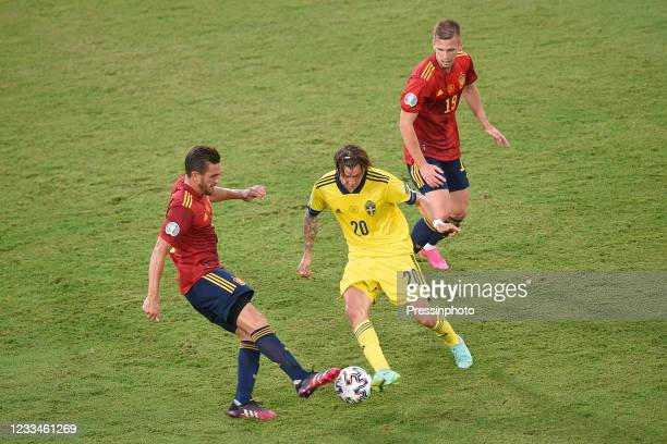 Macs Kristoffer Olsson of Sweden, Koke Resurreccion and Dani Olmo of Spain during the match between Spain and Sweden of Euro 2020, group E, matchday...