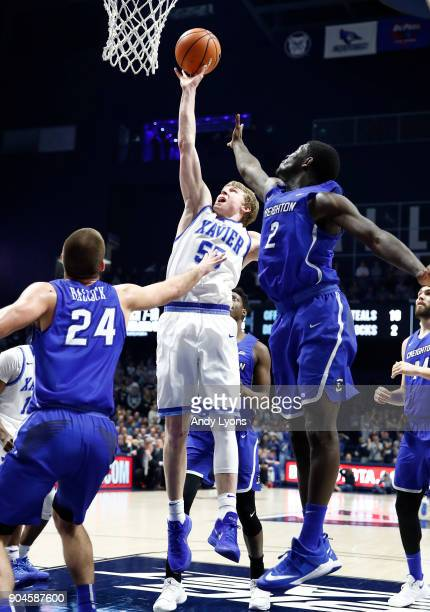 P Macura of the Xavier Musketeers shoots the ball against the Creighton Bluejays at Cintas Center on January 13 2018 in Cincinnati Ohio