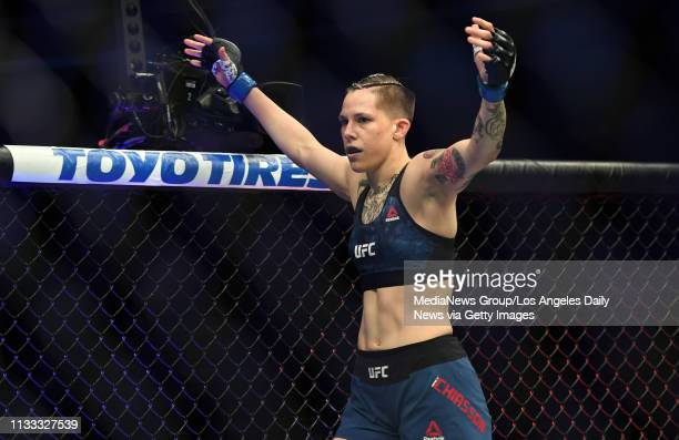 Macy Chiasson celebrates after stopping Gina Mazany during UFC 235 at the TMobile Arena in Las Vegas NV Saturday Mar 2 2019 Chiasson defeated Mazany...