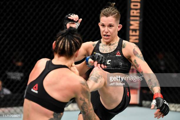 Macy Chiasson kicks Lina Lansberg of Sweden in their women's bantamweight bout during the UFC Fight Night event at Royal Arena on September 28 2019...
