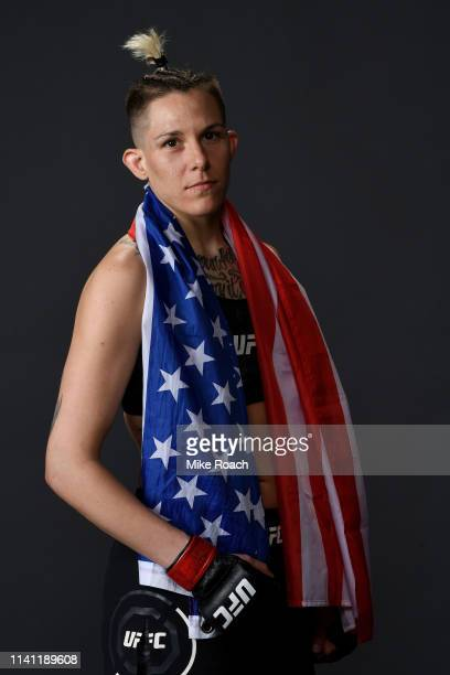 Macy Chiasson poses for a portrait backstage during the UFC Fight Night event at Canadian Tire Centre on May 4 2019 in Ottawa Ontario Canada