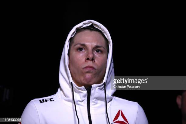 Macy Chiasson prepares to fight Gina Mazany in their women's bantamweight bout during the UFC 235 event at TMobile Arena on March 2 2019 in Las Vegas...