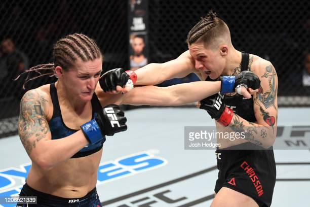 Macy Chiasson punches Shanna Young in their women's bantamweight bout during the UFC Fight Night event at Santa Ana Star Center on February 15, 2020...