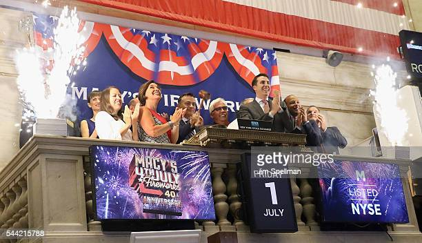 Macy's 4th of July Fireworks executive producer Amy Kule members of the Macy's parade and entertainment group Gary Souza of Pyro Spectaculars by...
