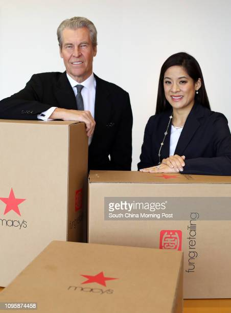 Macy's CEO Terry Lundgren and Fung Retailing Executive Director Sabrina Fung at Fung Group in Central 04NOV15