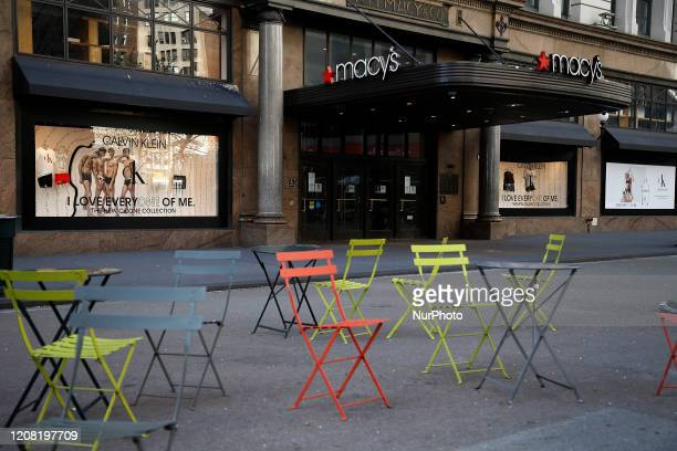 Macy's Department store is closed in New York United States on March 24 2020 In the midst of the coronavirus New York City becomes increasingly...