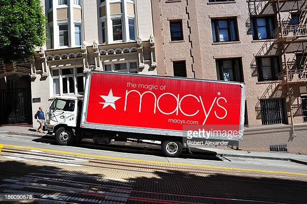Macy's department store truck makes a delivery in San Francisco's Nob Hill area on October 3 2013 in San Francisco California