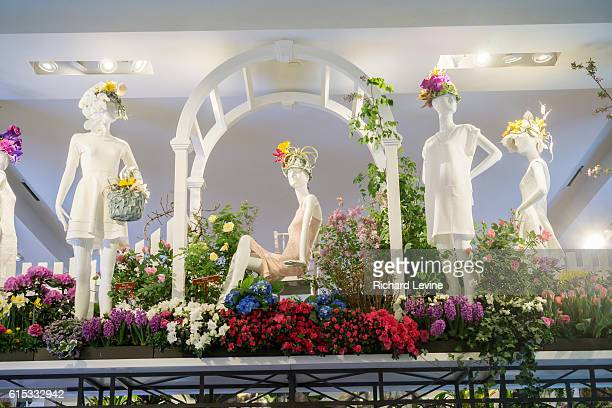 Macy's flagship department store in Herald Square in New York is festooned with floral arrangements for the 42nd annual Macy's Flower Show, on...