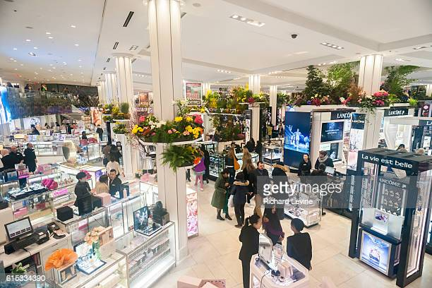 Macy's flagship department store in Herald Square in New York is festooned with floral arrangements for the 42nd annual Macy's Flower Show on opening...