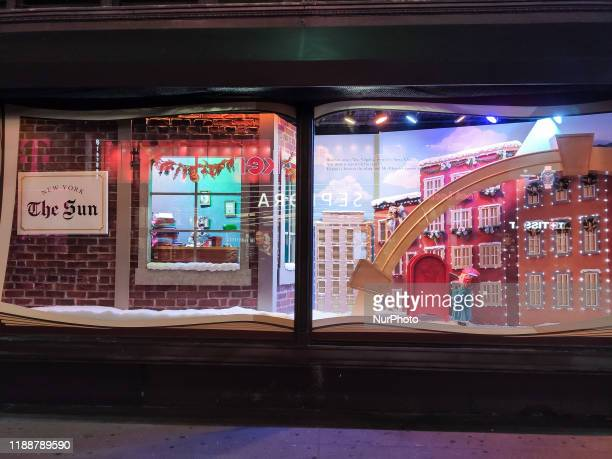 Macy's Herald Square Flagship Department Store in Midtown Manhattan New York City with Christmas window display decoration The shop is among the...