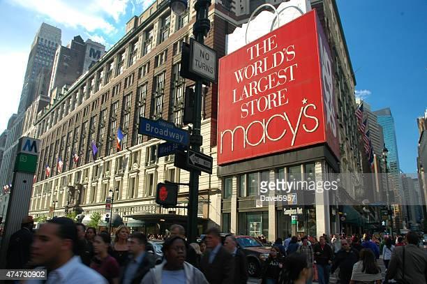 macy's herald square principal loja de departamento, em midtown manhattan - macy's - fotografias e filmes do acervo