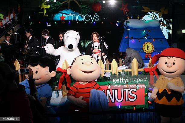 Macy's Thanksgiving Day Parade Executive Producer Amy Kule and Peanuts cartoon characters attends Macy's presents 'It's The Great Window Unveiling...