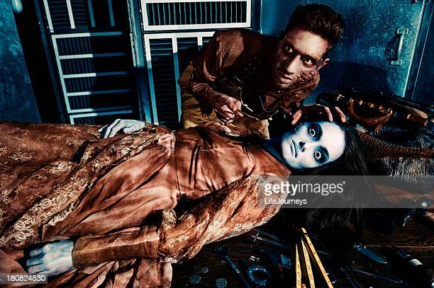 mad doctor makes himself a wife - frankenstein stock photos and pictures