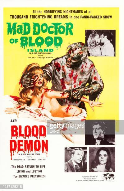 Mad Doctor Of Blood Island, poster, on double bill with BLOOD DEMON, top l-r: Angelique Pettyjohn, John Ashley, bottom: Christopher Lee, Karin Dor,...