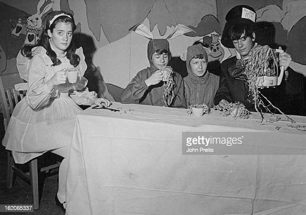 MAR 5 1970 MAR 7 1970 MAR 11 1970 Mad Hatter's Tea Party Enacted At Manning Junior High Chris Campbell left as Alice Blair Burwell Hare Susanne...