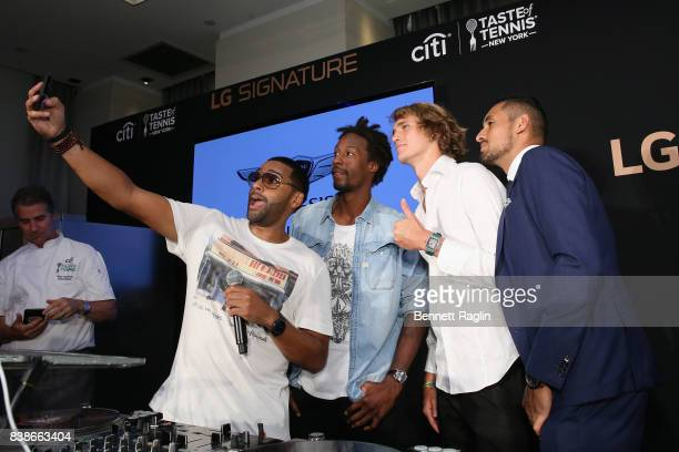 DJ Mad Lynx tennis players Gael Monfils Alexander Zverev Jr and Nick Kyrgios attend Citi Taste Of Tennis at W New York on August 24 2017 in New York...