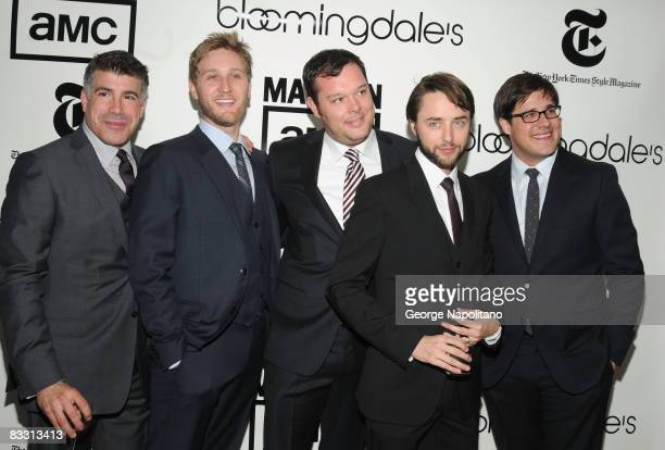 Mad Men cast members Bryan Batt Aaron Staton Michael Gladis Vincent Kartheiser and Rich Sommer attend the reopening of the Men's Floor at...