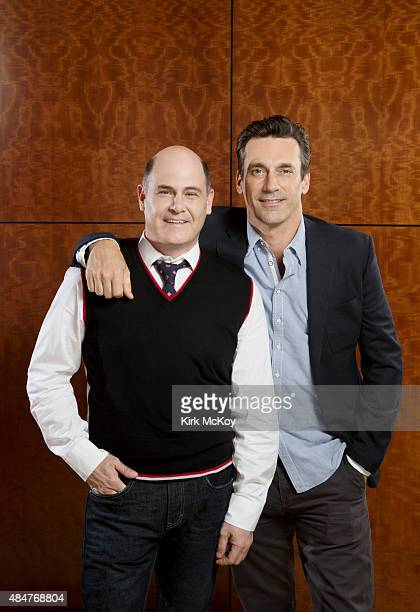 Mad Men creator Matthew Weiner and actor Jon Hamm are photographed for Los Angeles Times on June 26 2015 in Los Angeles California PUBLISHED IMAGE...