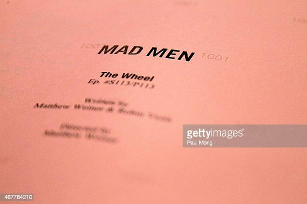 A 'Mad Men' script on display during the Smithsonian's Museum Of American History Mad Men Artifact Donation Ceremony at the National Museum Of...