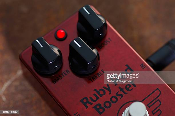 A Mad Professor Ruby Red Booster electric guitar effects pedal During a studio shoot for Guitarist Magazine February 2 2011