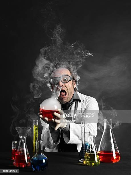 Mad scientist holding hot substance