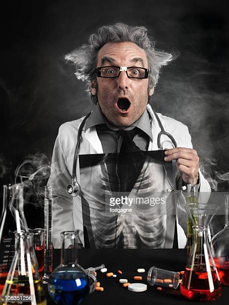 Mad scientist holding x-ray