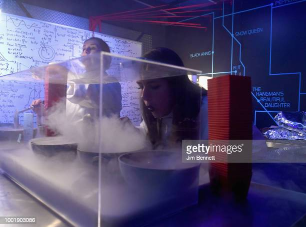 A mad scientist prepares a mysterious creation in the Doom Patrol lab at The DC UNIVERSE Experience at ComicCon International on July 19 2018 in San...