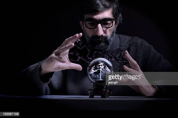Mad scientist sees wind turbine in crystal ball