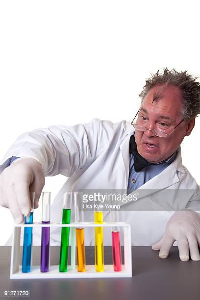 Mad Scientist selecting a test tube