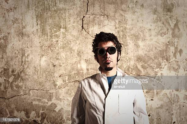 Mad scientist wearing protective glasses
