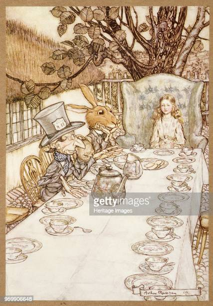 A Mad Tea Party from Alice's Adventures in Wonderland by Lewis Carroll pub 1907 colour lithograph
