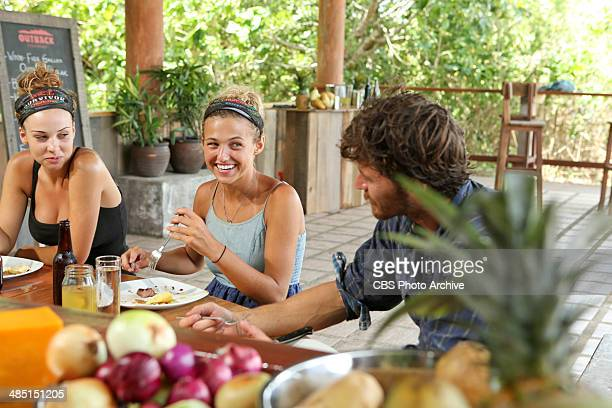 Mad Treasure Hunt Morgan McLeod Jefra Bland and Jeremiah Wood enjoy their reward during the seventh episode of SURVIVOR CAGAYAN Wednesday April 9 on...