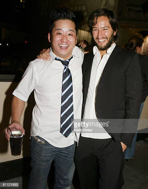 Mad TV's Bobby Lee and producer Greg Shapiro pose at the afterparty for the premiere of New Line's Harold Kumar Go to White Castle at the Annex on...