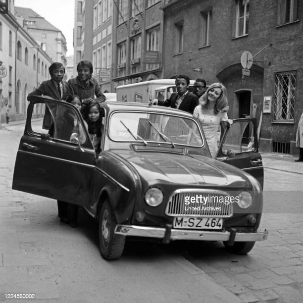 """Madagascan pop band """"Les Surfs"""" with Ranka Rindgenthy, Germany, 1960s."""
