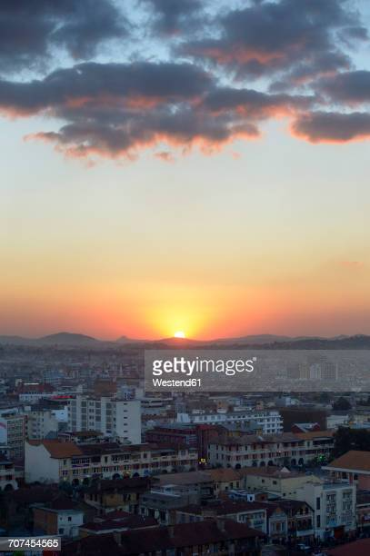 madagascar, antananarivo, cityscape at sunset - antananarivo stock photos and pictures