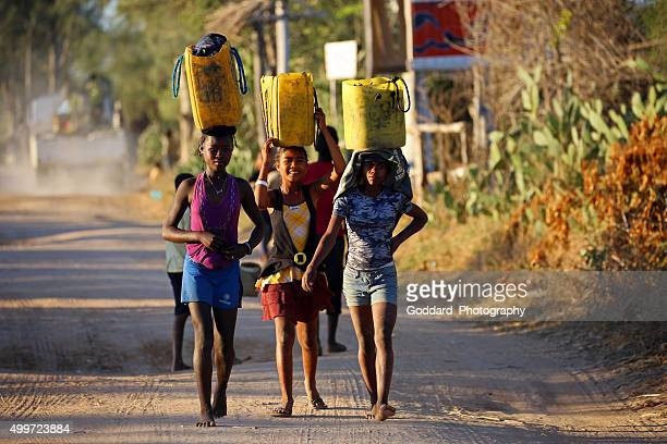 madagascar: carrying produce in ifaty - madagascar stock photos and pictures