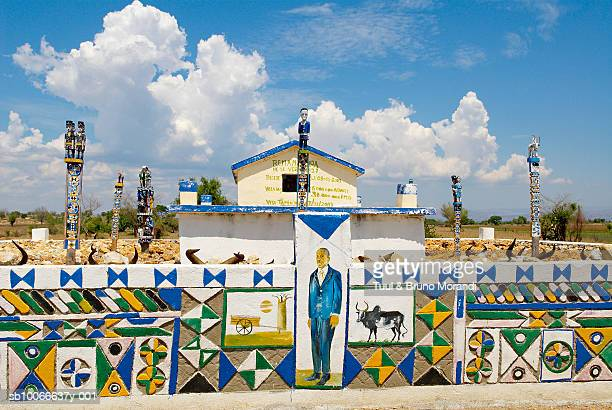 Madagascar, Tulear, traditional tomb decorated in muhafaly style