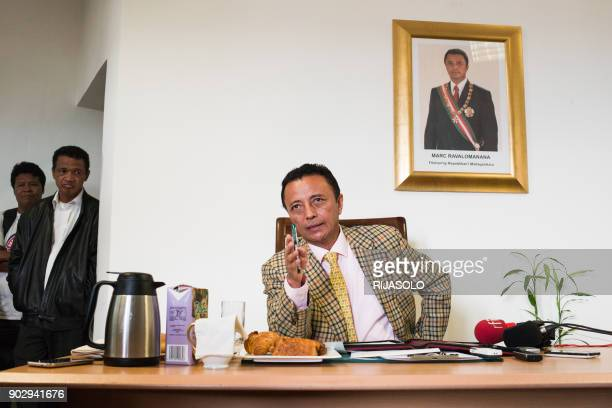 Madagascar's former president Marc Ravalomanana addresses a press conference at his home in Antananarivo, on January 9 ahead of this year's...