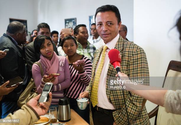 Madagascar's former president Marc Ravalomanana speaks to journalists during a press conference at his home in Antananarivo, on January 9 ahead of...