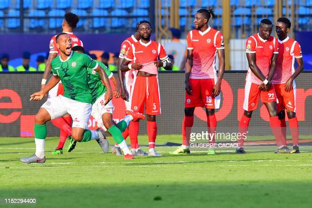 Madagascar's midfielder Marco Ilaimaharitra celebrates after scoring a goal during the 2019 Africa Cup of Nations football match between Madagascar...