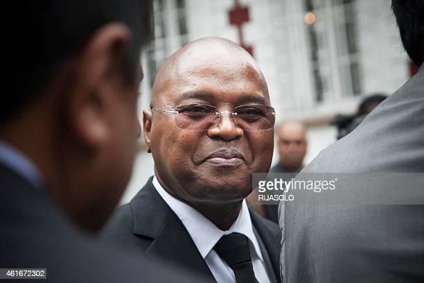Madagascar's newly appointed Prime Minister Jean Ravelonarivo attends the handover ceremony at the Mahazoarivo State Palace in Antananarivo on...