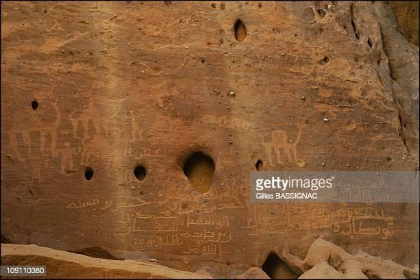 Mada'In Salah The Second Nabataean Capital On June 1 2003 In Saudia Arabia Camel And Arabic Inscriptions On Mount Ethlib