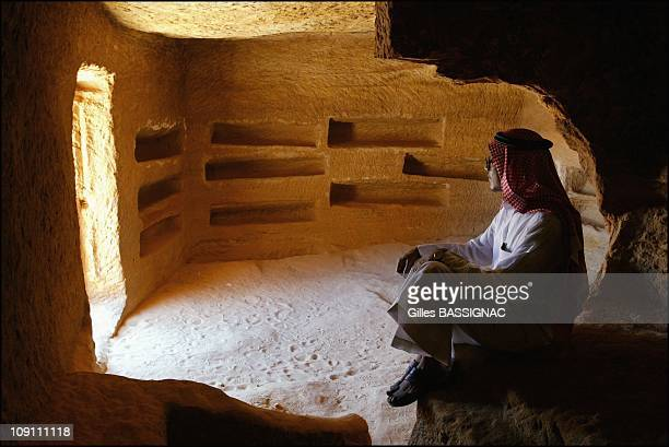 Mada'In Salah, The Second Nabataean Capital. On June 1, 2003 In Saudia Arabia. Mutlak Al Mutlak, Head Of The Archeological Museum Of Al Ula, Inside A...