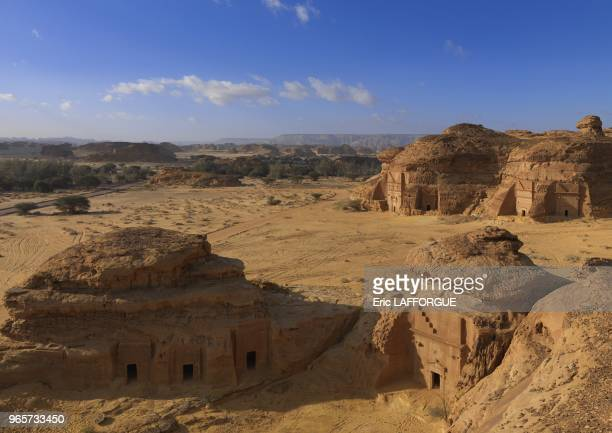 Madain Saleh in Saudi Arabia a sister city to Jordans Petra UNESCO world heritage site located in the AlUla sector within the Al Madinah Region of...
